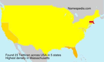 Surname Teittinen in USA