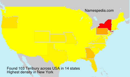 Surname Teribury in USA