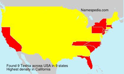 Surname Teshia in USA