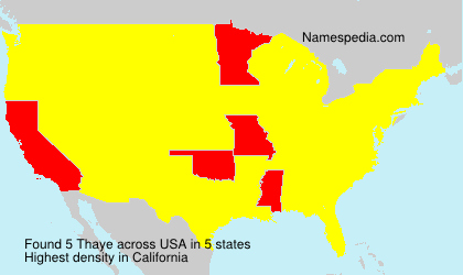 Familiennamen Thaye - USA