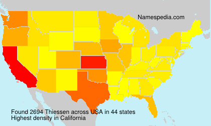 Surname Thiessen in USA