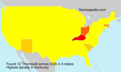 Surname Thornewill in USA