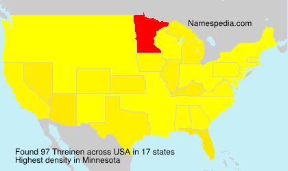 Familiennamen Threinen - USA