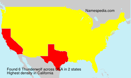 Surname Thunderwolf in USA
