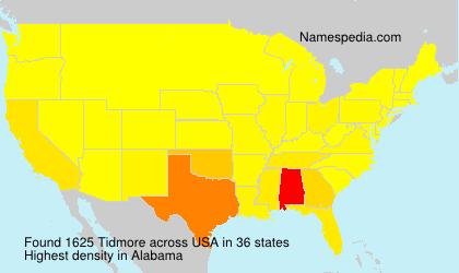 Surname Tidmore in USA