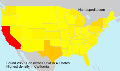 Familiennamen Tien - USA