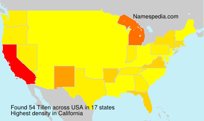 Surname Tillen in USA
