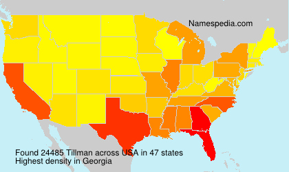 Surname Tillman in USA