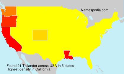 Familiennamen Tjulander - USA