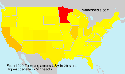 Surname Toensing in USA