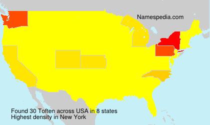 Surname Toften in USA