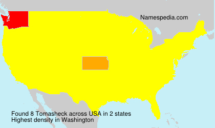 Surname Tomasheck in USA