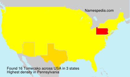 Familiennamen Tomecsko - USA
