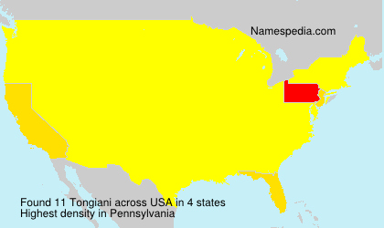 Familiennamen Tongiani - USA