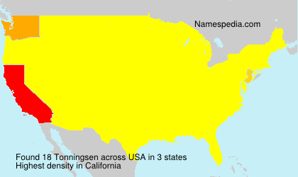 Surname Tonningsen in USA