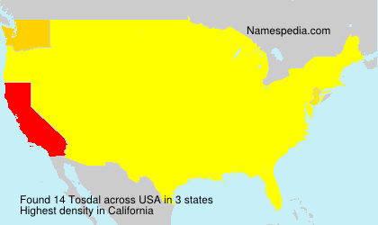 Surname Tosdal in USA
