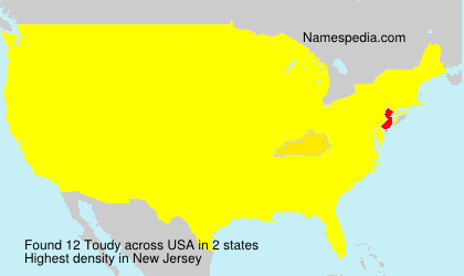 Surname Toudy in USA