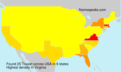 Surname Touset in USA