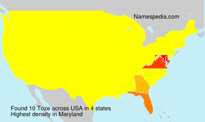 Surname Toze in USA