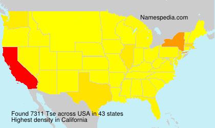 Familiennamen Tse - USA