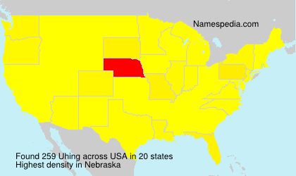 Surname Uhing in USA