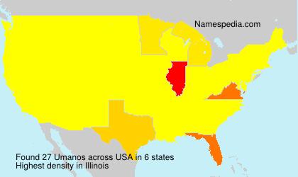 Familiennamen Umanos - USA