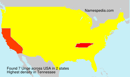 Surname Unge in USA