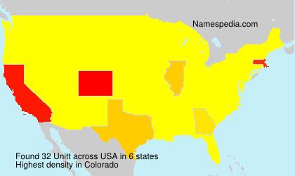 Surname Unitt in USA