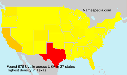 Surname Uvalle in USA