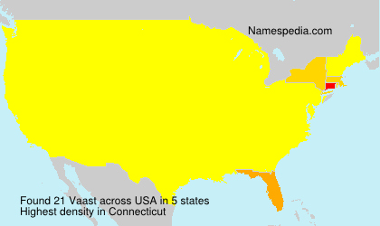 Surname Vaast in USA