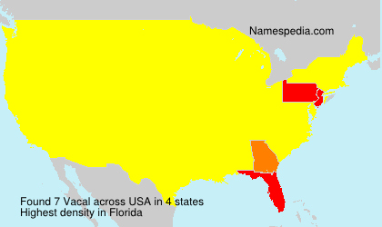 Surname Vacal in USA