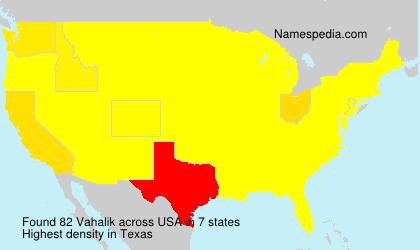 Surname Vahalik in USA