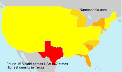 Surname Valdiri in USA