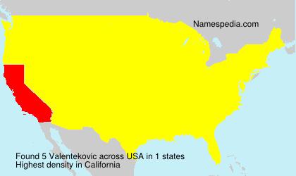 Surname Valentekovic in USA