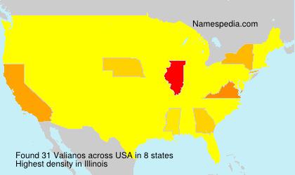 Familiennamen Valianos - USA