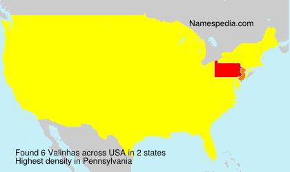 Surname Valinhas in USA