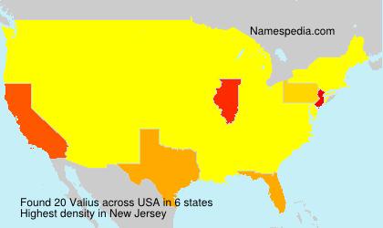 Surname Valius in USA