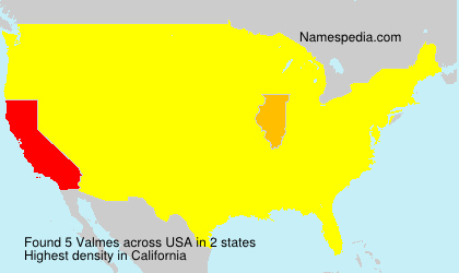 Surname Valmes in USA