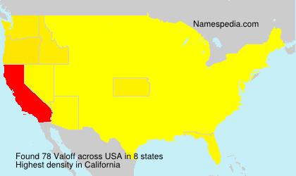 Familiennamen Valoff - USA
