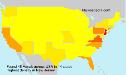 Surname Vanak in USA