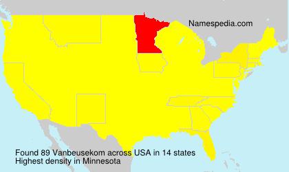 Surname Vanbeusekom in USA