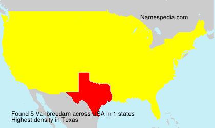 Surname Vanbreedam in USA