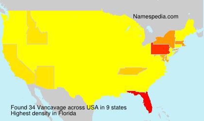 Surname Vancavage in USA