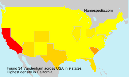Surname Vandenham in USA