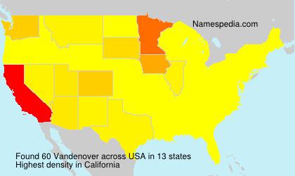 Surname Vandenover in USA