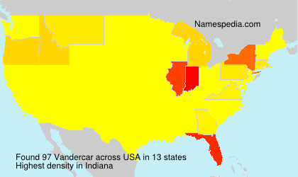 Surname Vandercar in USA