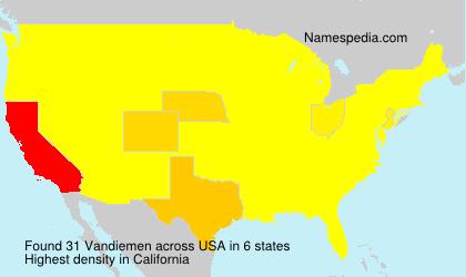 Familiennamen Vandiemen - USA