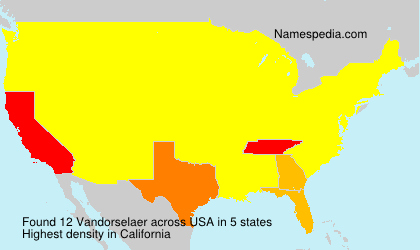 Surname Vandorselaer in USA