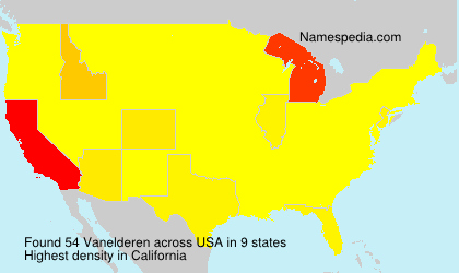 Surname Vanelderen in USA