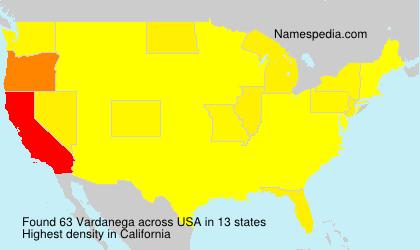 Surname Vardanega in USA